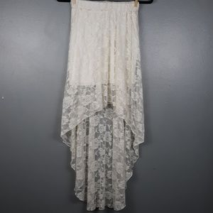 Hi-low lined floral lace cream skirt